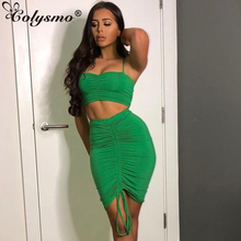 Colysmo 2 Piece Set Women Green Summer Outfits Ruched Tight Sexy Two Piece Set Crop Top And Skirt Set Club Wear Matching Sets lofrcy sexy sequin 2 piece set women crop top and skirt glitter club outfits puff sleeve square neck ruched dress matching sets