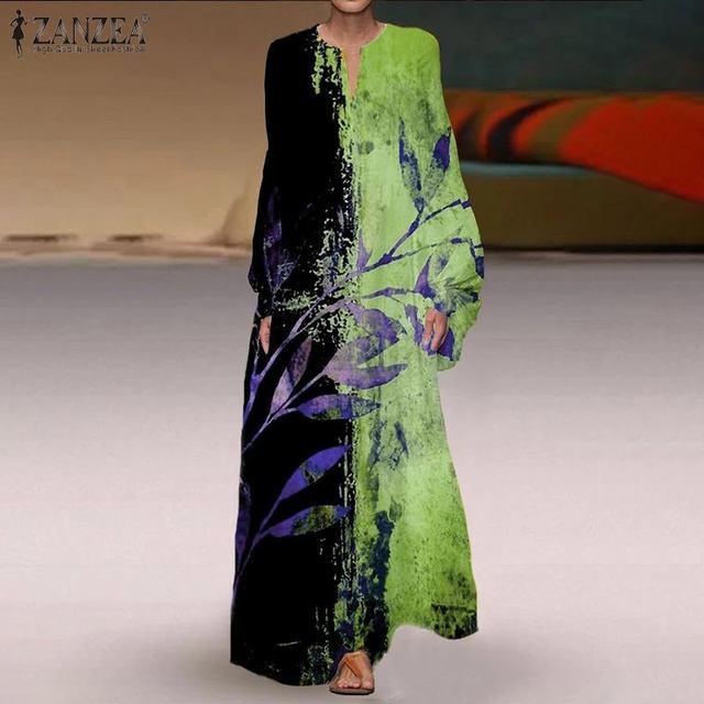 Floor length maxi-dress bohemian style. v-neck long-sleeved 1