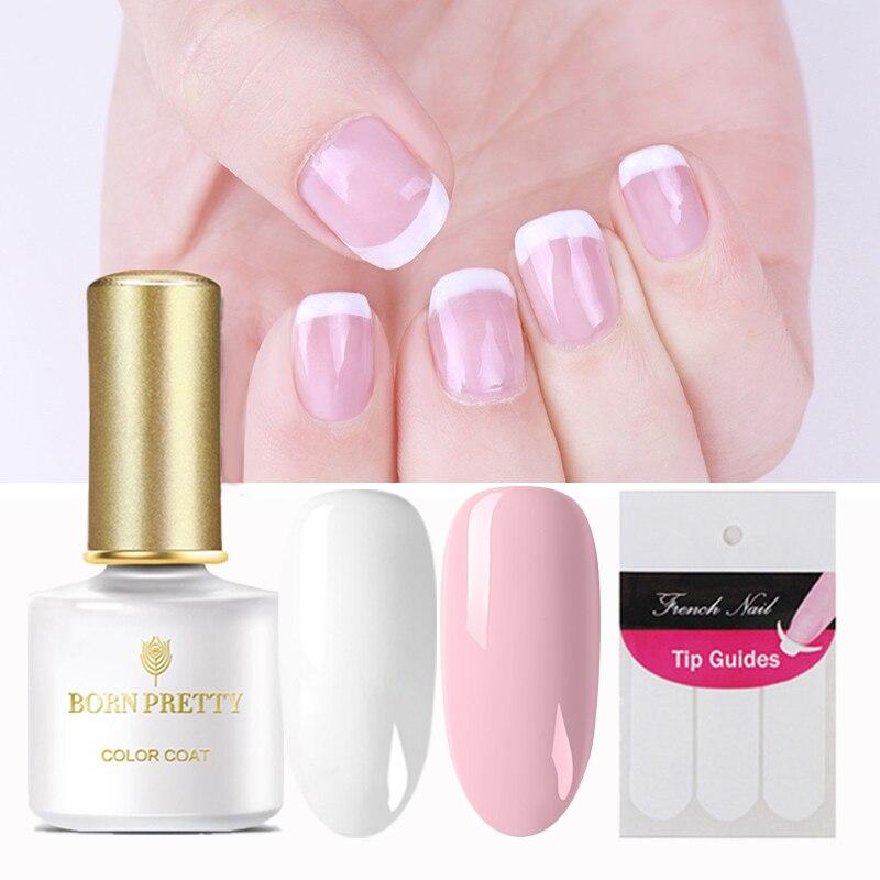 BORN PRETTY белый розовый УФ-Гель-лак, набор наконечников для французского маникюра, Базовое покрытие для ногтей, верхнее покрытие, Гель-лак для н...