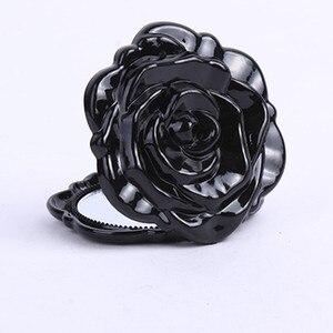 Image 5 - Hot Mini Rose Flower Hand Mirror Black Folding Round Mirror Portable Girls Pocket Mirror Double Side Travel Make Up Mirror