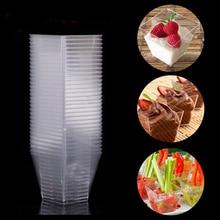 50/100 шт. квадратный десертные чашки мини Пластик 2 унции прозрачные вечерние Свадебный декор Прозрачные Чашки Десерт AUG889