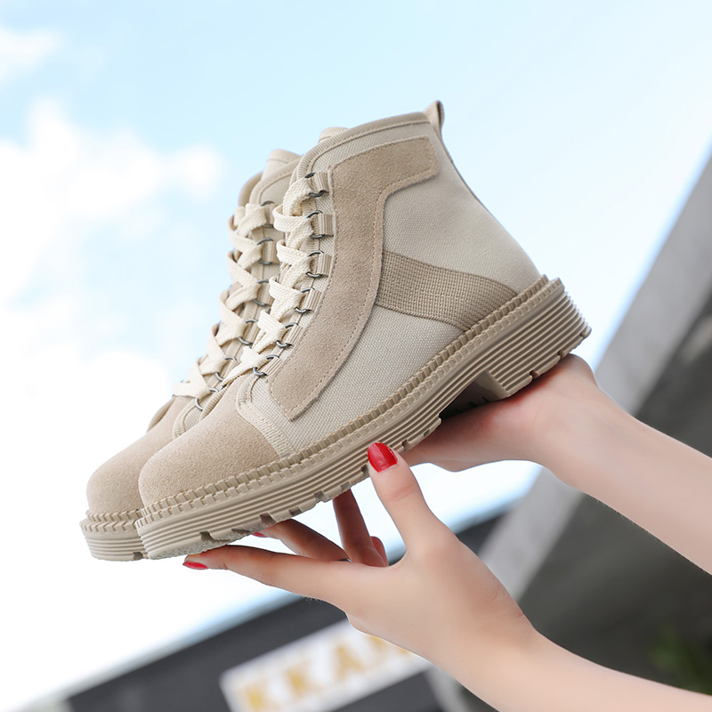 AIYUQI Women Real Leather Boots Martin 2019 Autumn New Sexy Women Ankle Boots Canvas Motorcycle Boots Ladies in Ankle Boots from Shoes