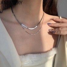 ANENJERY – colliers en argent Sterling 925 pour femmes, chaînes à Double couche en os de serpent, ins rétro, Design de Niche d'empilage, collier court
