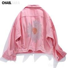 Весенняя мода 2020 розовые фиолетовые джинсовые куртки с цветочными