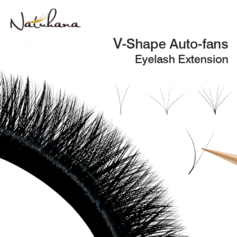 NATUHANA V Shape Auto-Fans Eyelash Extension Premade Volume Eyelashes Maquiagem Cílios Individual Silk V Type Easy Fan Lashes