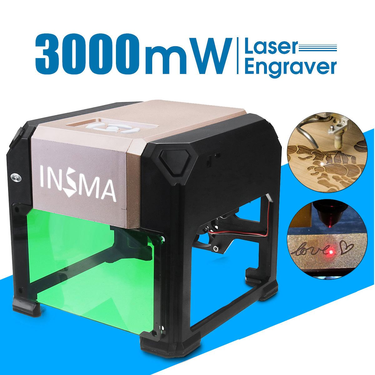 WOLIKE 3000mW Desktop Laser Engraving Machine USB DIY Logo CNC Laser Engraver Printer With Heart Wooden Board