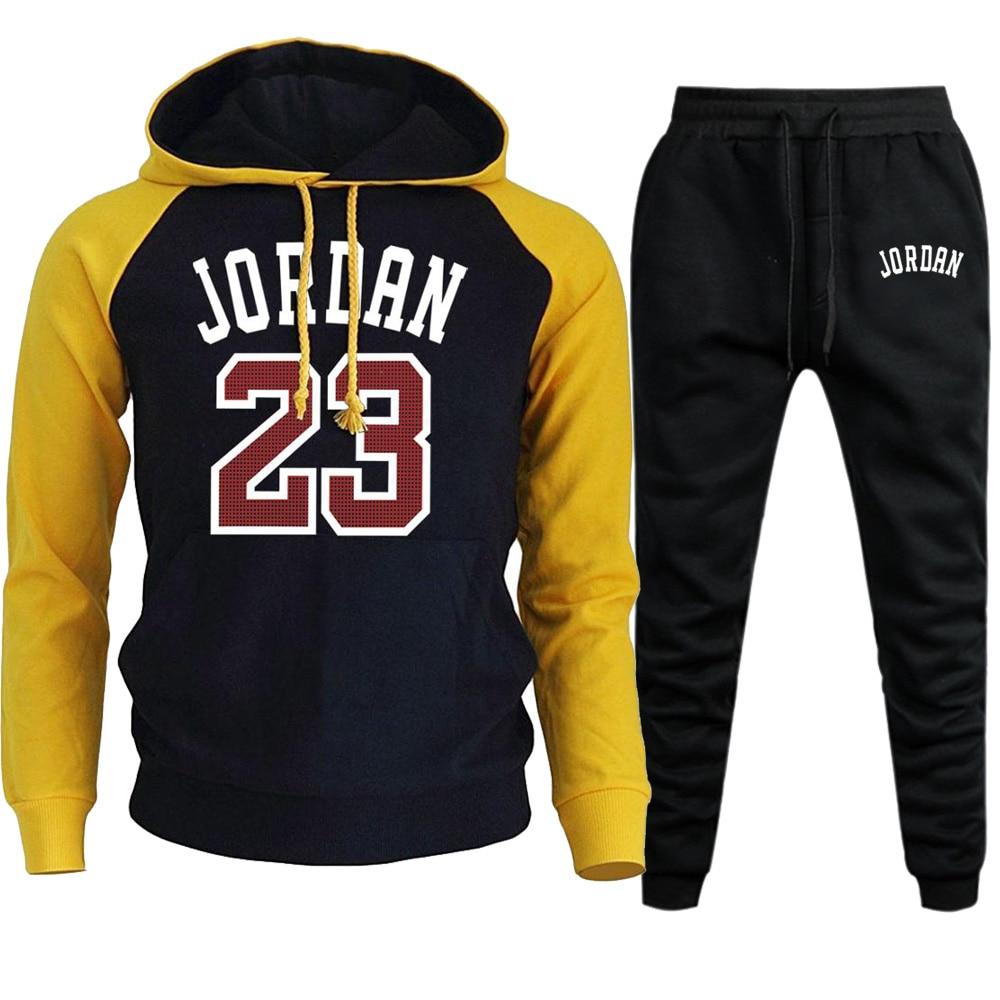 Jordan 23 2019 Mens Sets Hoodies+Pants Autumn Winter Men Hooded Sweatshirt Fleece Hoodie Pant 2 Piece Set Suits Streetwear Hoody