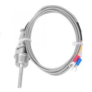 Image 4 - 2M K Tipi Sıcaklık Sensörü RTD Paslanmaz Çelik Termokupl Sıcaklık Probu 1/2 NPT Ayrılabilir 3 Pin Konnektör 6.6ft Kablo