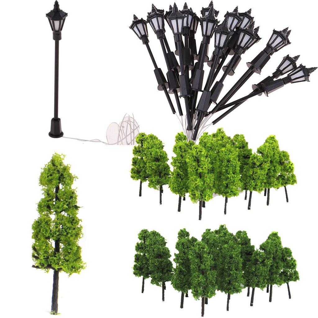 Luz de poste de lámpara para Diorama, árbol modelo H0 1/100, 3v, piezas de paisajismo