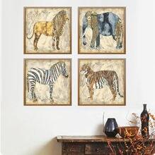 Живопись в стиле ретро тигр Лев слон животное живопись холст