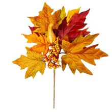 Simulated Maple Leaf Silk Branch And Autumn Accessories Home Window Thanksgiving Scene Arrangement Decoration