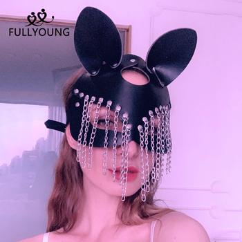 Fullyoung nowa seksowna skórzana maska Punk maska Cosplay Blindfold Bdsm fetysz kobiety Glamour dorosły mroczny styl maski akcesoria imprezowe tanie i dobre opinie CN (pochodzenie) WOMEN Skóra syntetyczna Maska na oczy