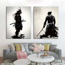 Japanese Samurai Graffiti Art Poster Painting Printed On Canvas Painting Home Decor Cuadros For Living Room Wall Art Posters()
