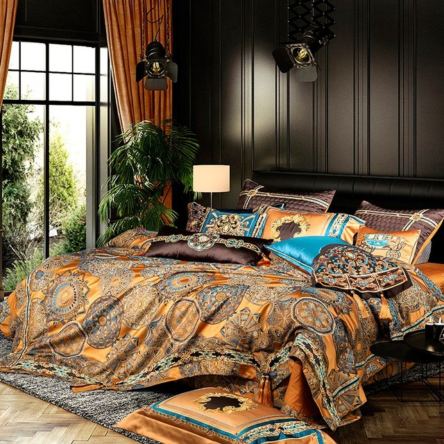 Chic Home 4/6/10Pcs Place Faux Silk Luxury Large Jacquard with Embroidery Golden Bedding set Duvet Cover Bedspread Bed Sheet set 3