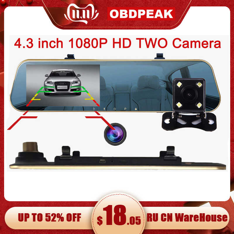 "4.3"" 1080P car rearview mirror dvr car full HD 1080p car driving video recorder camera car reverse image dual lens Free shipping"