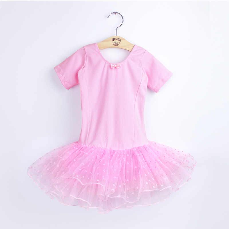 Baletowa spódniczka tutu dla dziewczynki sukienka dla dzieci gimnastyka tiulowa spódnica trykoty różowe czarne kostiumy baletowe z Dot Tutus