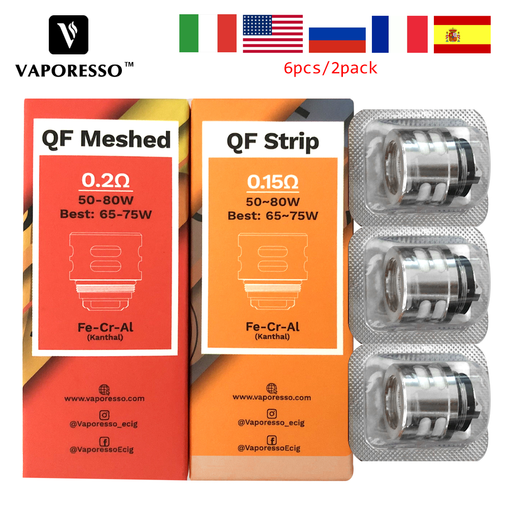 6pcs Vaporesso LUXE S Kit Replacement Coil QF Strips 0.15ohm & QF Meshed 0.2ohm Coil For Luxe TC Kit SKRR Tank Replacement Coil