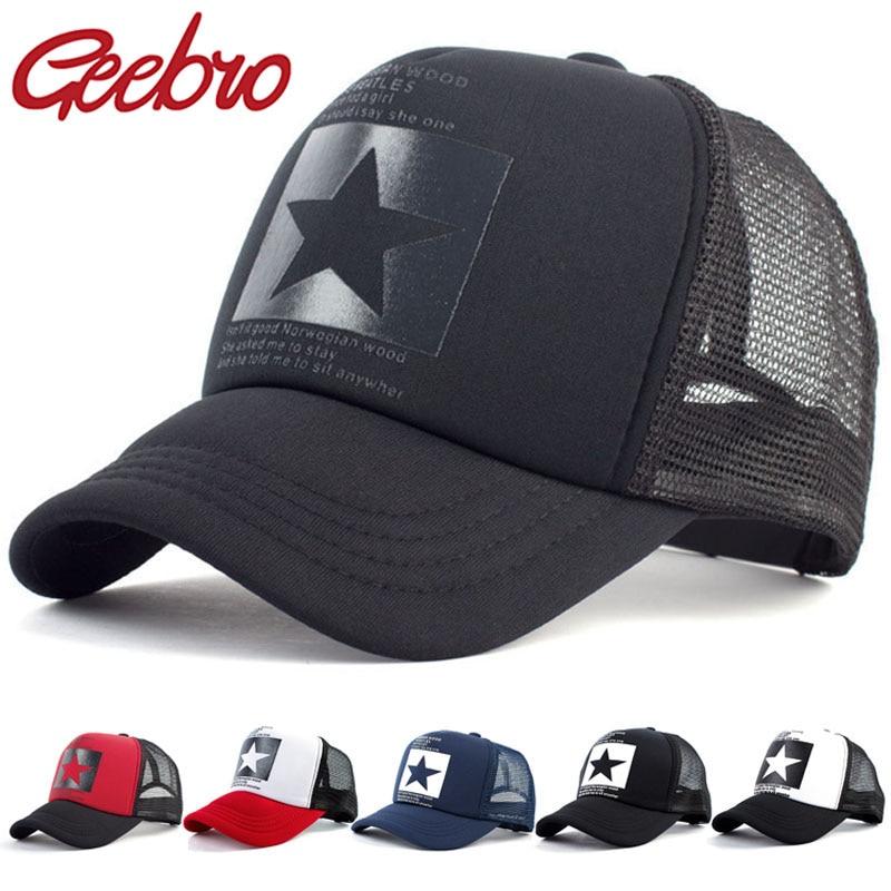 Geebro Fashion Women And Men Mesh Net Baseball Cap Casual Star Printing Snapback Bone Baseball Hat For Male Sport Letter Caps
