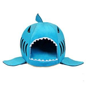 Image 4 - Caseta de CAWAYI cama de Casa de perro para mascotas, diseño de tiburón, para perros y gatos, productos de animales pequeños, cama de perro hondenmand, panier chien legowisko dla psa