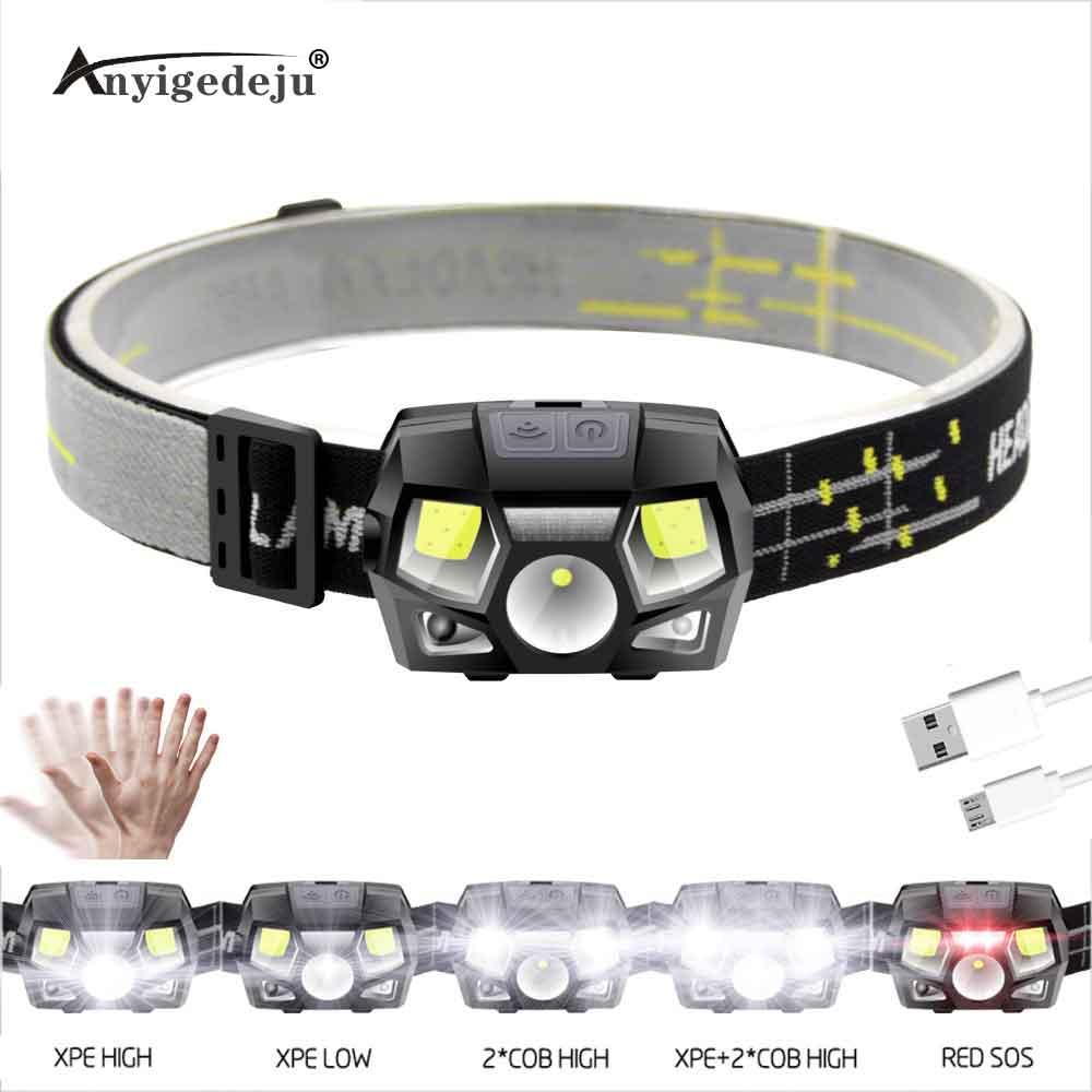 ANYIGE ультра яркий светодиодный налобный фонарь 1000LM датчик движения фара USB перезаряжаемая налобный фонарь водонепроницаемый фонарь