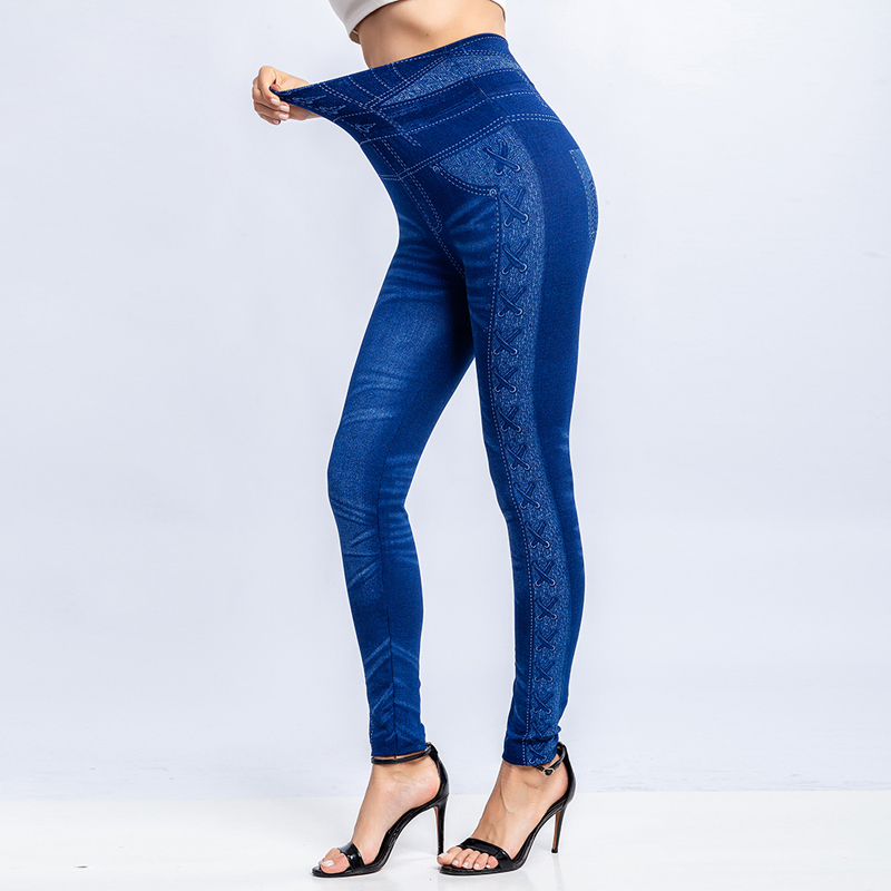 2019 New Fashion Slim Women Leggings Faux Denim Jeans Fitness Elastic Seamless Leggings Long Pocket Sexy Casual Pencil Pants