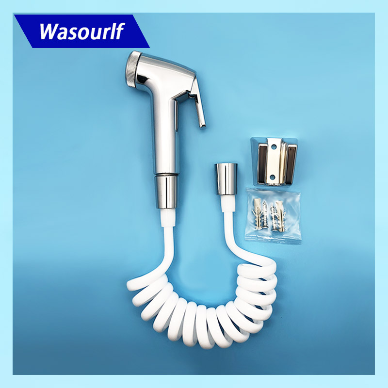 Wasourlf Toilet Hand Sprayer Bidet Set Shower Hose Bidet Holder Bathroom Accessories Toilet fittings Rest Room Parts White