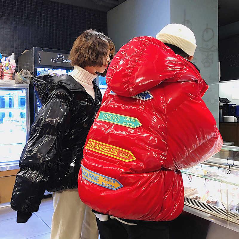 2019 glänzend Winter Baumwolle Gepolsterte Jacke Für Mann/Frauen Paar Parkas Dicke Warme Helle Kurze Glänzende Jacke Schwarz Rot baumwolle Parka