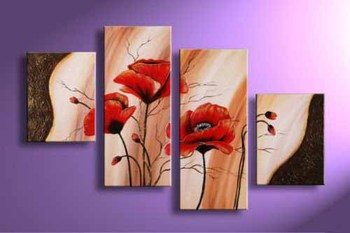 Hand-painted 4 Pieces Abstract Flower Painting Modern Canvas Panel Wall Art Decoration for Home Living Room Bedroom Office 4pcs