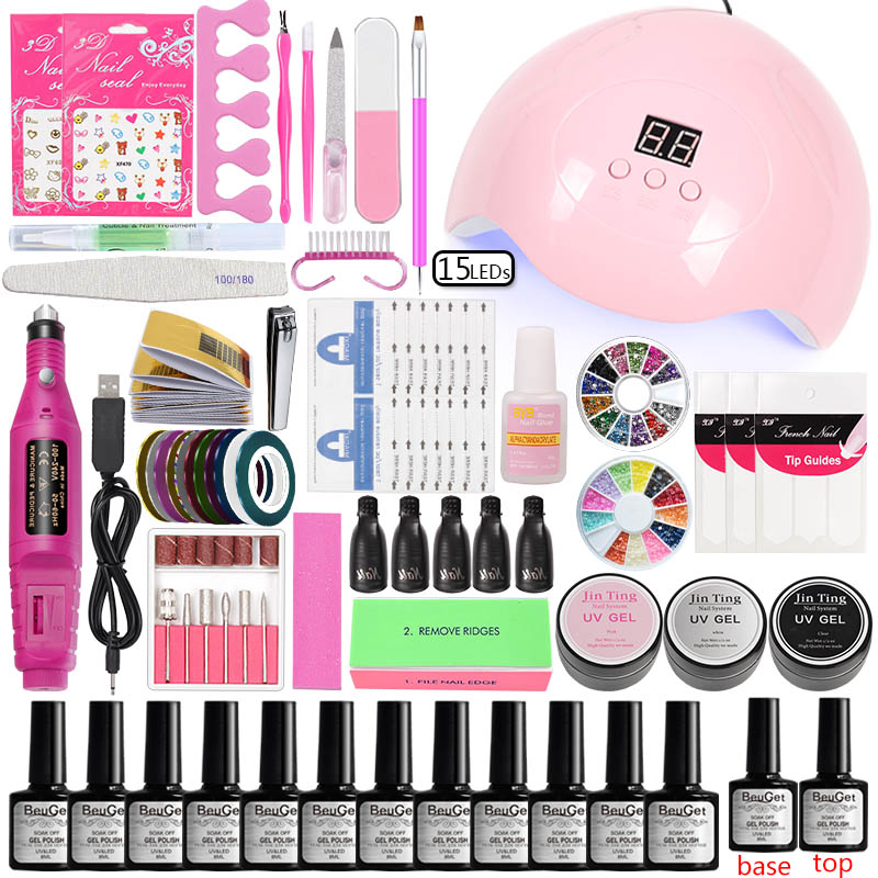 Nail Accessories Art Set Manicure Tools Acrylic Kit Equipment 45w/80w Led Nail Lamp Dry 12 Color Gel Varnish Polish Uv Gel