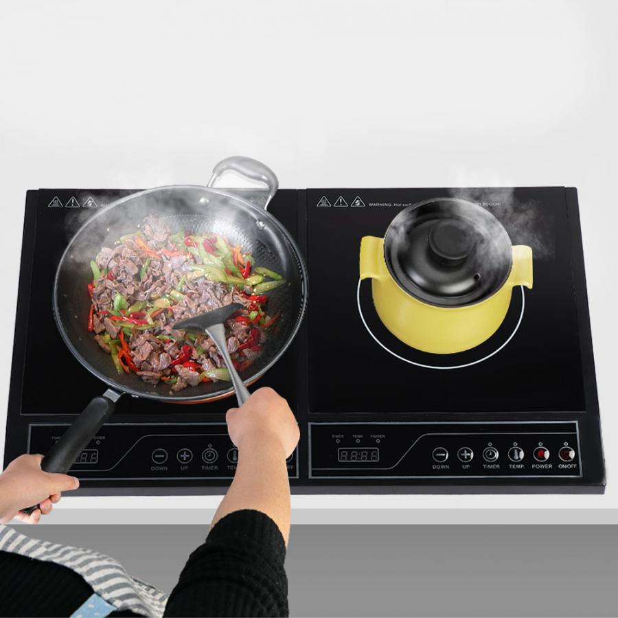 220V 3400W Induction Cooker Home Kitchen Electric Double Induction Cooktop Touchpad Induction Cooker