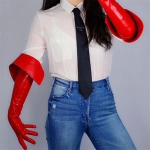 Image 1 - Lange Leren Handschoenen 65Cm Eversie Dubbele Laag Grote Cut Extra Lange Rode Simulatie Lederen Touchscreen Vrouwen Handschoenen WPU173