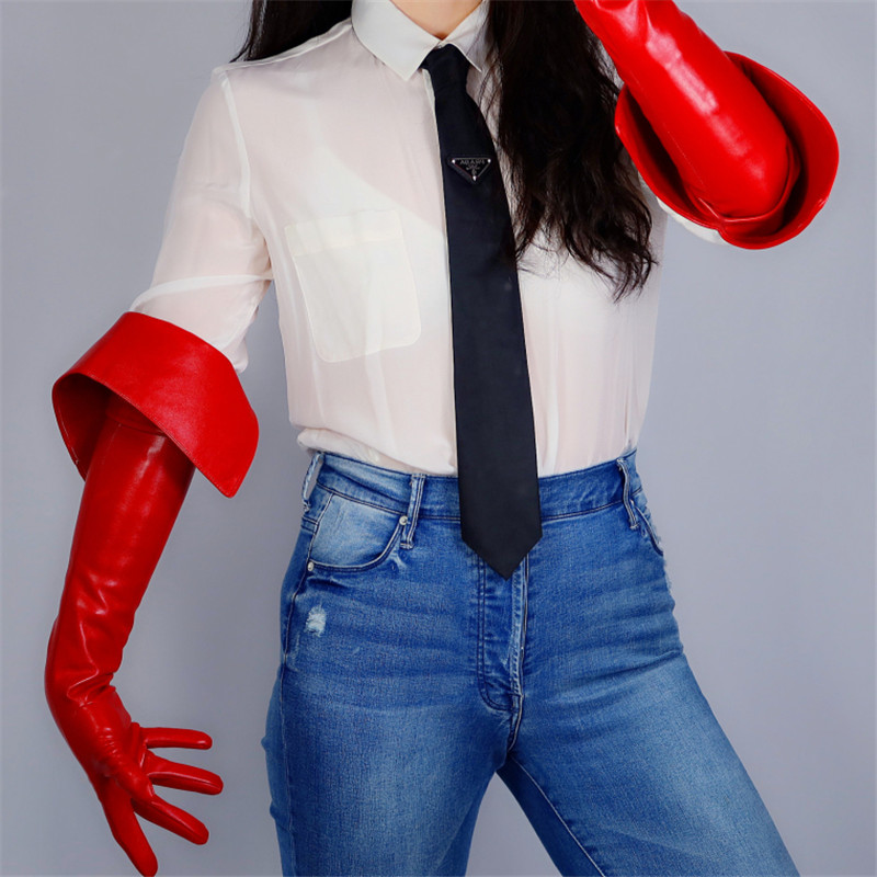 Long Leather Gloves 65cm Eversion Double Layer Big Cut Extra Long Red Simulation Leather Touchscreen Women Gloves WPU173