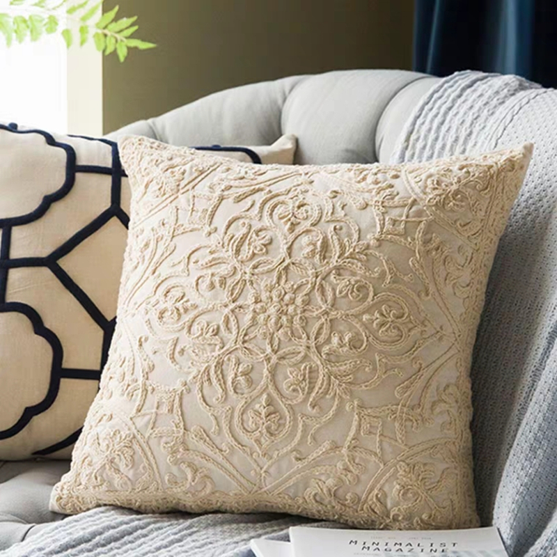 Nordic Style Cotton Pillowcase Cotton Rope Embroidered Pillow Cover Decorative Pillowcase For Home Funda Almohada 50*50cm