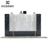 New Black and White Patchwork Acrylic Evening Bags for Women Messenger Bags Party Wedding Prom Casual Clutch Purse Shoulder bag