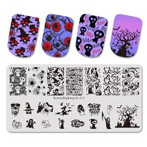 Image 1 - Beautybigbang Nail Stamping Plates Stainless Steel Strip Skull Flower Image Stamp Nail Art Carimbo De Unha Stamping Nail Art