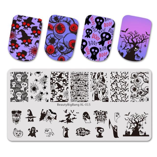 Beautybigbang Nail Stamping Plates Stainless Steel Strip Skull Flower Image Stamp Nail Art Carimbo De Unha Stamping Nail Art