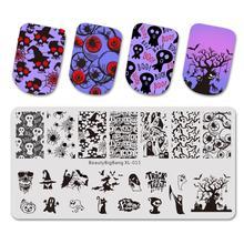 Beautybigbang płytki do tłoczenia paznokci taśma ze stali nierdzewnej czaszka ze obrazem kwiatu znaczek Nail Art Carimbo De Unha tłoczenie Nail Art