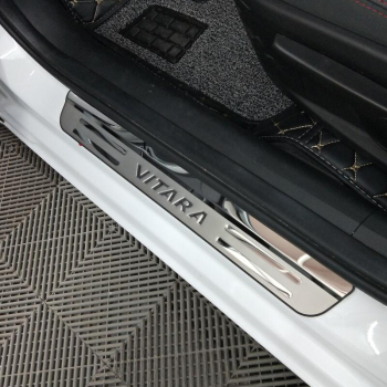 Car Accessories For Suzuki Vitara Door Sill Scuff Plate Stainless Steel Door Sills Pedal Car Styling Sticker 2017 2020 2019 2018 led door sill for mazda 6 skyactiv 2013 2019 streamed light scuff plate acrylic battery car door sills accessories