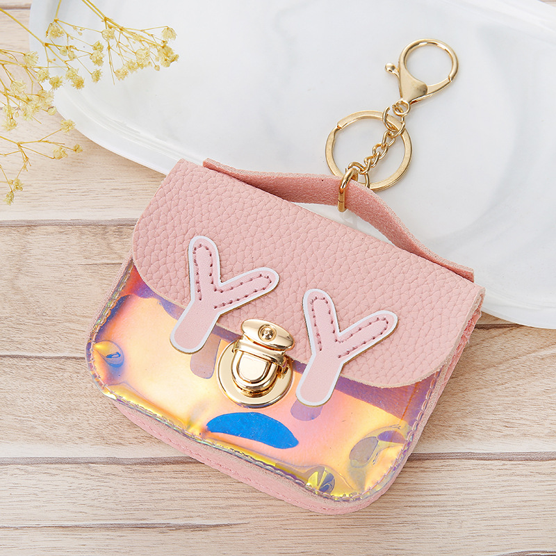 Korean-style Hipster's Glitter Joint Women's Purse With Keychain Small Square Purse Coin Bag Wallet