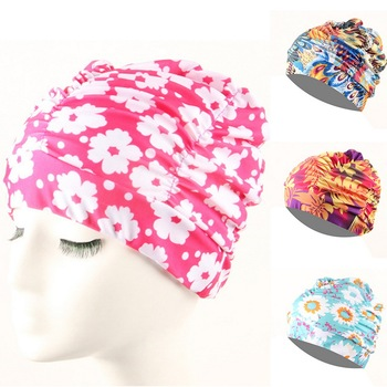 1pc Free Size Swimming Cap Elastic Nylon Turban Flowers Printed Pool Bathing Hats Long Hair Protect Swim Pool Hat for Men Women image