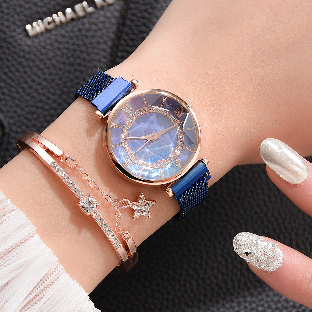 2PCS Set Magnetic Reloj Women Watch Fashion Casual Crystal Bracelet Wrist Watches Women Dress Clock Ladies Watch Zegarek Damski