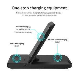 Image 4 - Kablosuz şarj istasyonu 3 in 1 katlanabilir standı Pad 15W Qi hızlı şarj Dock Airpods için Pro Apple izle 5 4 3 iPhone 11 XS XR 8