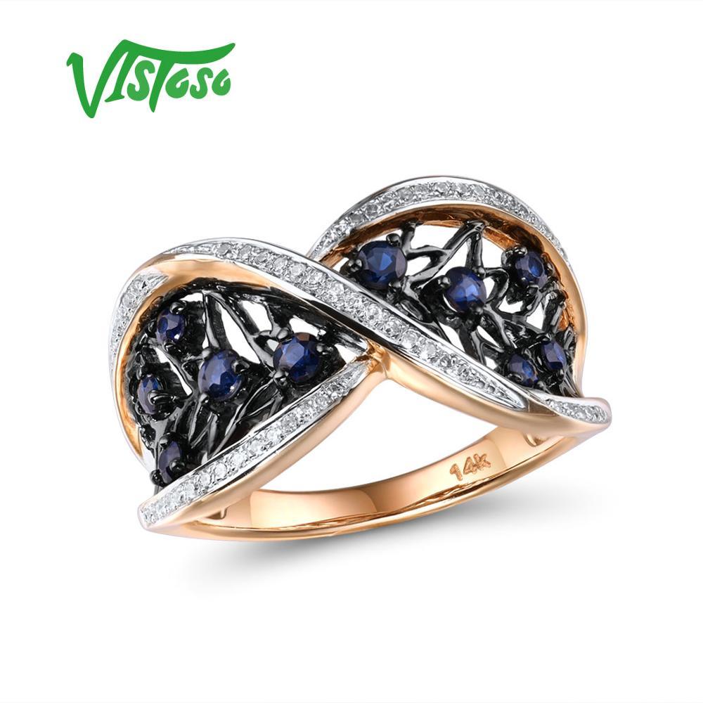 VISTOSO or anneaux pour femmes pur 14K 585 or Rose étincelant diamant naturel bleu saphir luxe Vintage fête Fine bijoux