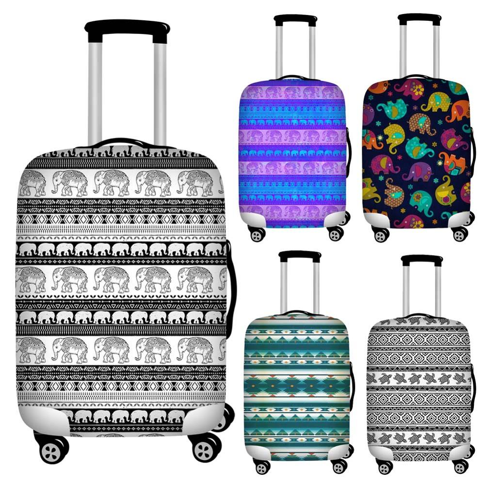 Twoheartsgirl Elastic Tribal Aztec Elephant Sea Turtle Luggage Protective Dust Covers Waterproof 18-32inch Travel Suitcase Cover