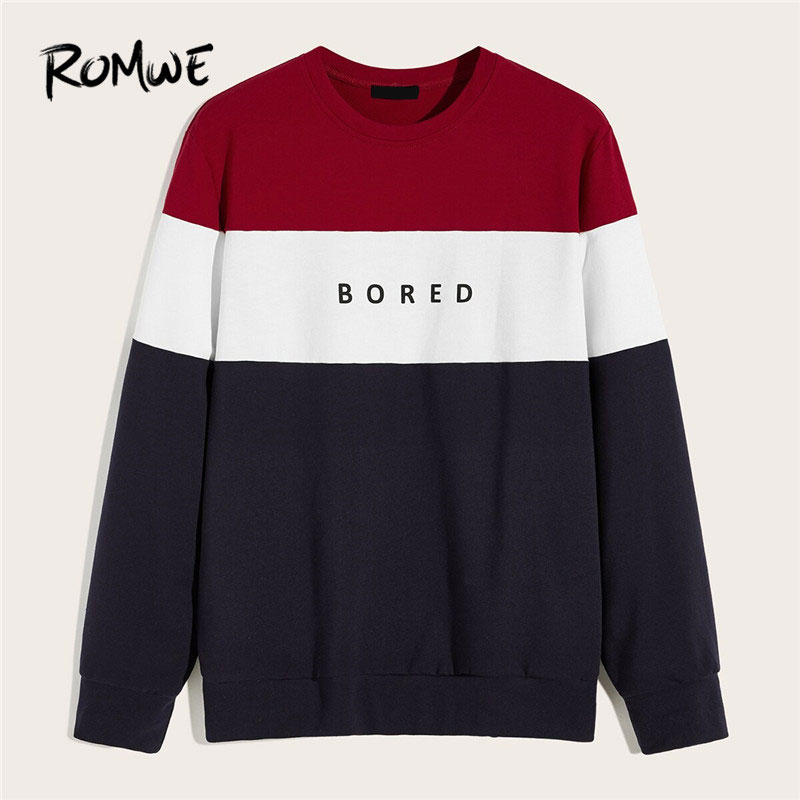 ROMWE Guy Crew Neck Colorblock Letter Print Sweatshirt Casual Fall 2019 Long Sleeve Tops Autumn Men Sweatshirt Clothing Pullover
