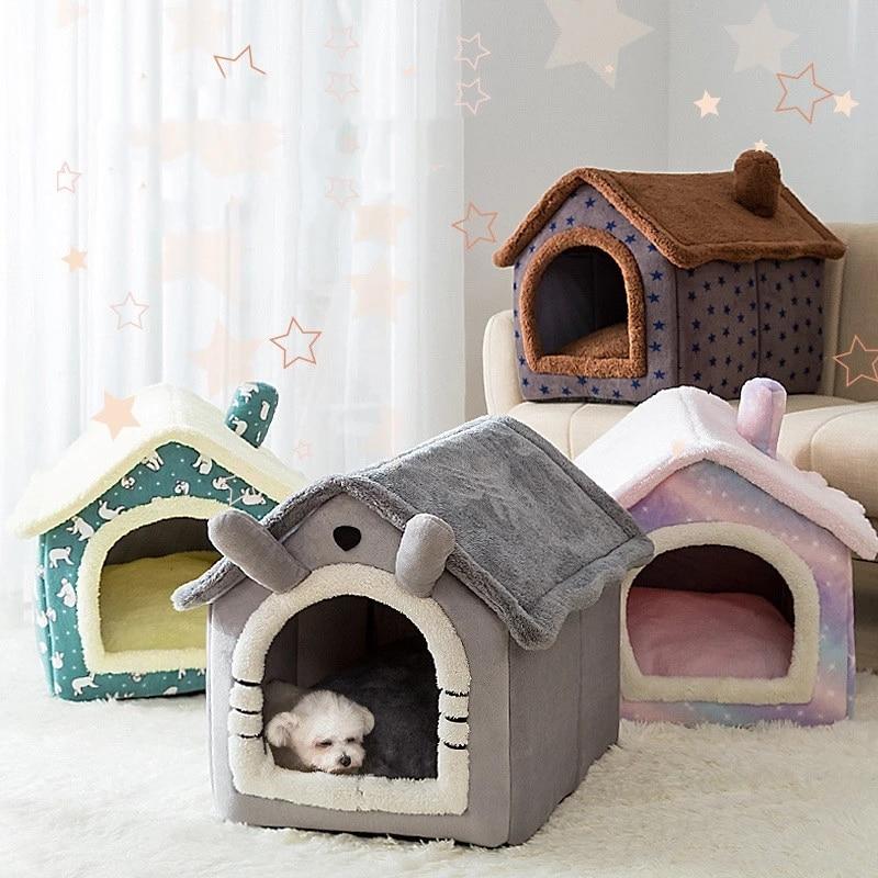 Складной дом для домашних кошек с глубоким сном, зимняя теплая удобная кровать для маленьких собак, котят, плюшевый домик, товары для домашн...