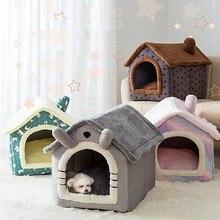 Dobrável sono profundo casa do gato do animal de estimação interior inverno quente aconchegante cama do gato para pequeno gato do cão gatinho teddy confortável canil suprimentos para animais de estimação