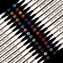 30 צבעים מתכתי סמני סט בסדר נקודת מתכתי מרקר עטים עבור שחור נייר אמנות רוק ציור DIY כרטיס ביצוע אמנות ספקי