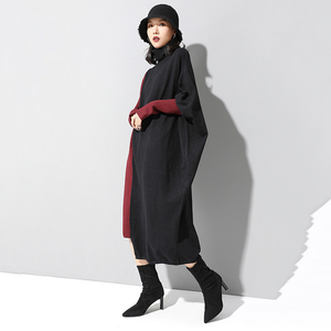 Image 5 - [EAM] Women Knitting Contrast Color Big Size Dress New High Neck Long Sleeve Loose Fit Fashion Tide Spring Autumn 2020 1D674