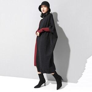 Image 5 - [EAM] فستان حريمي حياكة بألوان متباينة مقاس كبير برقبة عالية وأكمام طويلة وفضفاضة مناسب لربيع وخريف 2020 1D674